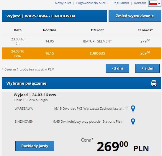 Międzynarodowe autobusy Polska Holandia Eurolines